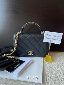 100% Genuine Chanel Black Mini Caviar Top Handle Flap Bag