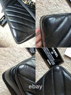 100% Genuine Chanel Chevron Trendy CC Small Flap Bag Top Handle Gold Hardware