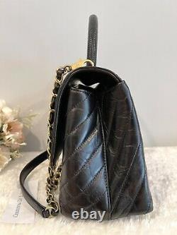 1000% AUTH! RARE! Chanel Coco Top Handle Lizard Medium Black Calfskin GHW Bag