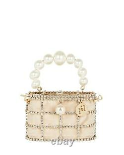 $1400 Rosantica Mini Holli Embellished Top Handle Clutch Gold