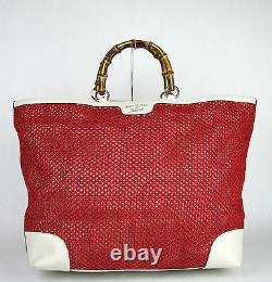 $1455 NEW Authentic GUCCI Top Handle Bamboo Shopper Straw Tote Red Large 338964