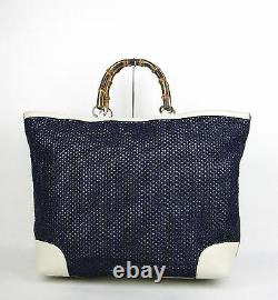 $1455 NEW Authentic GUCCI Top Handle Bamboo Straw Tote Blue Large 338964 4271
