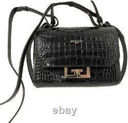 $1650 Givenchy Mini Eden Croc Embossed Top Handle Bag Crossbody Flap Purse