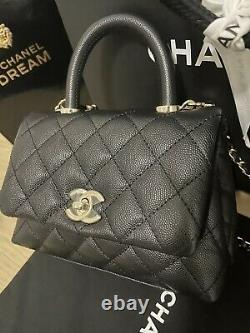 21K Chanel Caviar Black Mini Coco Handle Bag Top Handle Flap Crossbody Purse