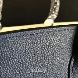 35cm SHW Deep Blue Genuine Leather Shopper Tote Handbag Top Handle Satchel
