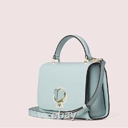 $378 Kate Spade Nicola Twistlock Small Top Handle Satchel Bag Cloud Mist Blue