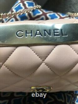 $7000 Chanel Trendy CC Top Handle Bag Quilted Lambskin Leather Medium Pale Pink