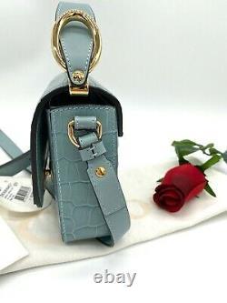 AUTH $1690 NWT Chloe C Mini Top Handle Croc Embossed Leather CrossBody Bag