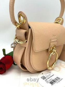 AUTH NWT $1850 Chloe Tess Small Grained Leather Top Handle Crossbody Bag