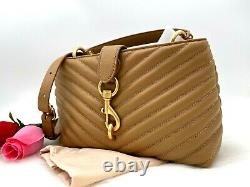 AUTH NWT Rebecca Minkoff Edie Leather Top Handle Satchel Bag In Cool Tan