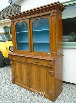 Antique Pine Glazed Top Welsh Dresser Farmhouse Kitchen Cupboard 2 Drawer Unit