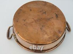 Antique heavy copper jam pan with 2 handles & rolled top Benham & Froud