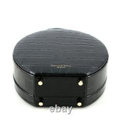 Aspinal of London Hat Box in Black Patent Croc Top Handle Shoulder Bag