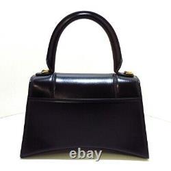 Auth BALENCIAGA Hourglass top handle small bag 593546 Black Handbag