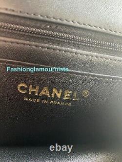 Auth BNIB Chanel Black Mini Rectangular Rectangle Top Handle Flap Bag 21A