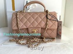 Auth BNIB Chanel Caramel Beige Mini Rectangular Rectangle Top Handle Bag 21A