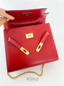 Auth Bally Red Leather Top Handle Shoulder Bag Handbag Made In Italy Vintage