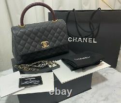 Authentic Chanel Coco Handle Handbag Flap Bag with Top Handle