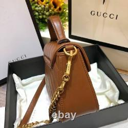 Authentic Gucci Brown GG Marmont Mini Top Handle Bag