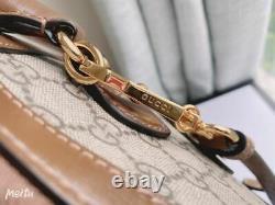 Authentic Gucci Horsebit 1955 Ebony GG Supreme Small Top Handle Bag