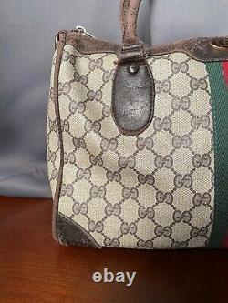 Authentic Vintage Gucci Small Boston Doctor Bag Top Handle Brown Monogram Speedy