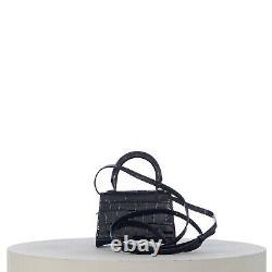 BALENCIAGA 995$ Hourglass Mini Top Handle In Black Shiny Croc Embossed Calfskin