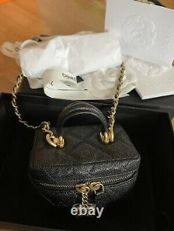 BN WT CHANEL 21S Mini Vanity Top Handle Bag Crossbody In Black Caviar Gold HW