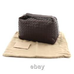 BOTTEGA VENETA Intrecciato Top Handle Hand Bag Pouch Leather Brown 90125852