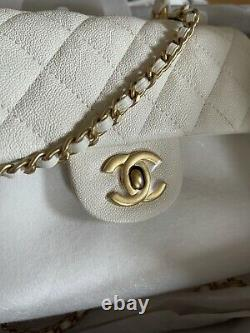 BRAND NEW 21S Chanel Classic Quilted White Mini Flap Bag with Top Handle GHW