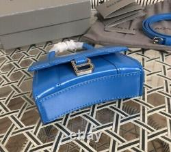 Balenciaga Hourglass Mini Top Handle Bag In Blue