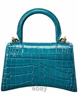 Balenciaga Hourglass Xs Croc-Embossed Leather Top Handle Satchel Women's