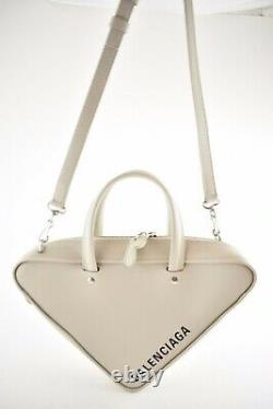 Balenciaga Triangle Duffle S Small White Grey Leather Top Handle Crossbody Bag