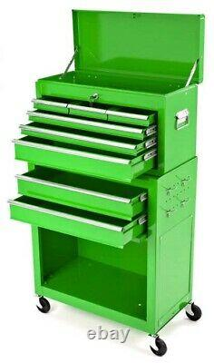 Biketek Rolling Tool Cabinet With Top Chest In Green