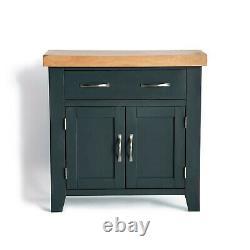 Blue Mini Sideboard Cabinet Small Cupboard Oak Top Drawer Solid Wood Chatsworth