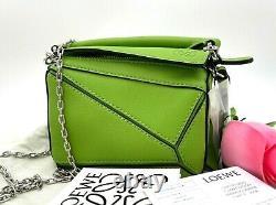 Brand New $1250 Loewe Nano Puzzle Top Handle Crossbody Apple Green Leather Bag