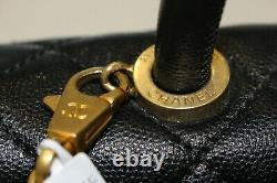 CHANEL Coco Black Cavier Quilted Leather Top Handle Flap Bag-Excellent&Authentic