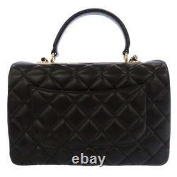 CHANEL Flap Bag with Top Handle Lambskin Black A69923 Handbag 2Way France