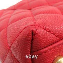 CHANEL Matelasse Large Caviar Leather Red A92991 Handbag Flap Bag Top Handle CC