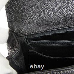 CHANEL Quilted Medium Hand Bag Top Handle Purse Black Caviar 6647270 AK38515e