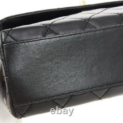 CHANEL Quilted Small Hand Bag Top Handle Purse Black Leather 5560570 01133