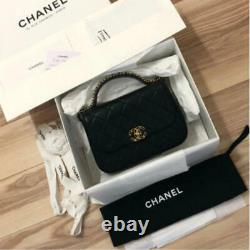 CHANEL Top Handle Flap Bag A91587 Gold Chain Shoulder Lambskin Black Auth New