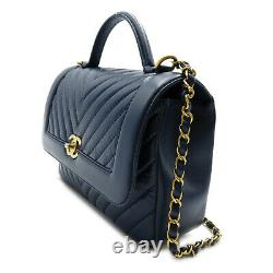 CHANEL V-stitch top handle Chain Shoulder Bag GHW leather Navy Used Women CC