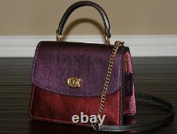 COACH Parker Top Handle Satchel Shoulder Bag Metallic Colorblock Leather Purse