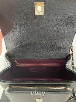 Chanel 2021 Business Affinity Black Caviar Leather Bag Top Handle Gold Receipt