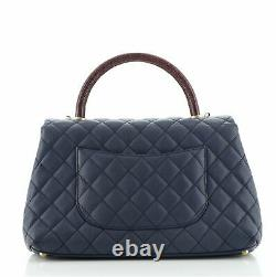 Chanel Coco Top Handle Bag Quilted Caviar with Lizard Small