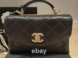 Chanel Trendy Spirit Mini Small Bag Purse Top Handle Coco Gold Hardware New