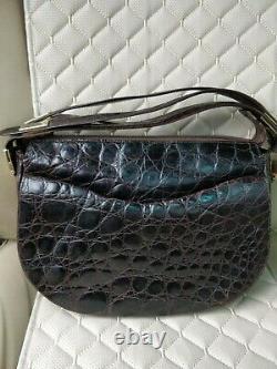 Christian Dior 60's 70's Vintage Croc Leather Saddle Bag Shoulder Top Handle