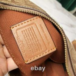 Coach F58321 F36674 Signature Top Handle Purse Crossbody Mini Bag Khaki Saddle