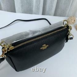 Coach Leather Top Handle Crossbody Pouch Bag F25591 Black