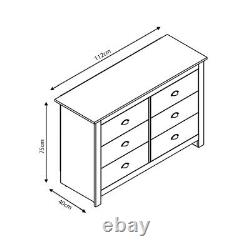 Cream Chest of 6 Drawers Traditional Design. Light Oak Top. Cup Handles 112cm W